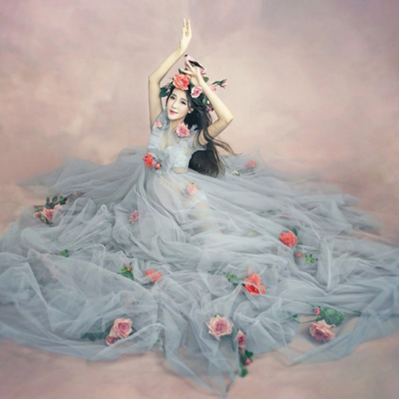 2016 Maternity Photography Props Romantic Elegant Long Fairy Trailing Dress Pregnancy Photo Shoot Shower for pregnant women M587 rq elegant maternity dress photography props long dress pregnant women clothes fancy pregnancy photo props shoot q83