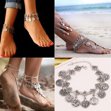 Tribal Ethnic Silver Coin Tassel Gypsy Festival Turkish Anklets Bracelet Jewelry