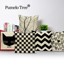 Geometris Bantal Hitam Putih Bantal Sofa Dropshipping Bantal Cover Linen Gelombang Linear Bantal Dekorasi Rumah Sarung Bantal(China)