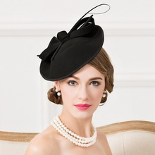 Женская модная шляпа Fedora для девочек, новое зимнее платье, шерстяная шляпа для девочек, маленькие вечерние, подходят ко всему, черная шапка с бантом, B-4815
