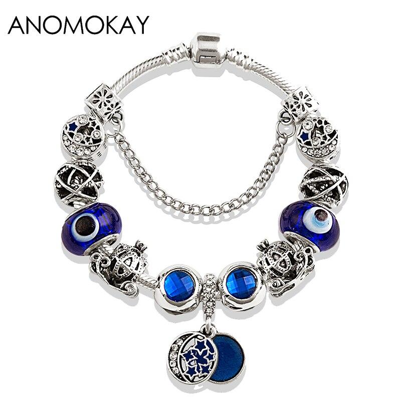 Blue Charm Bracelet: Antique Silver Shining Star Moon Beads Pandora Bracelet