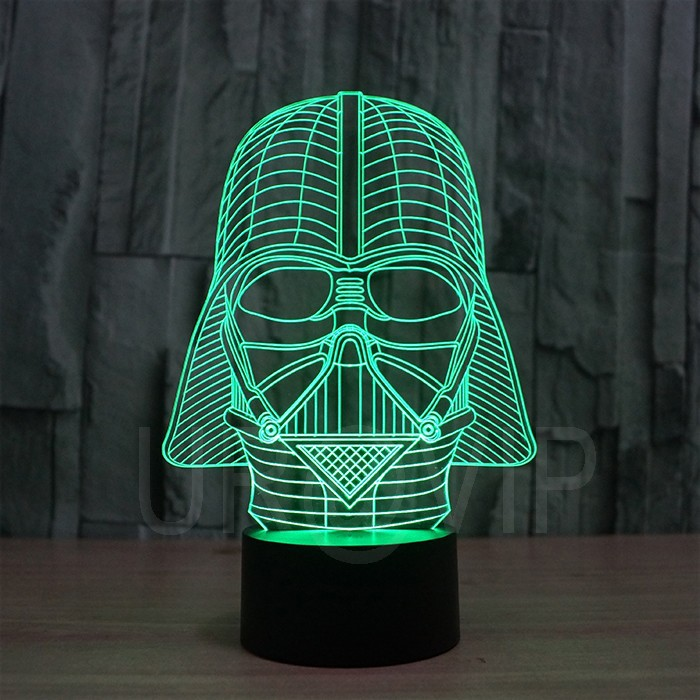 JC-2833  Amazing 3D Illusion led Table  Lamp Night Light with darth vader shape   (2)