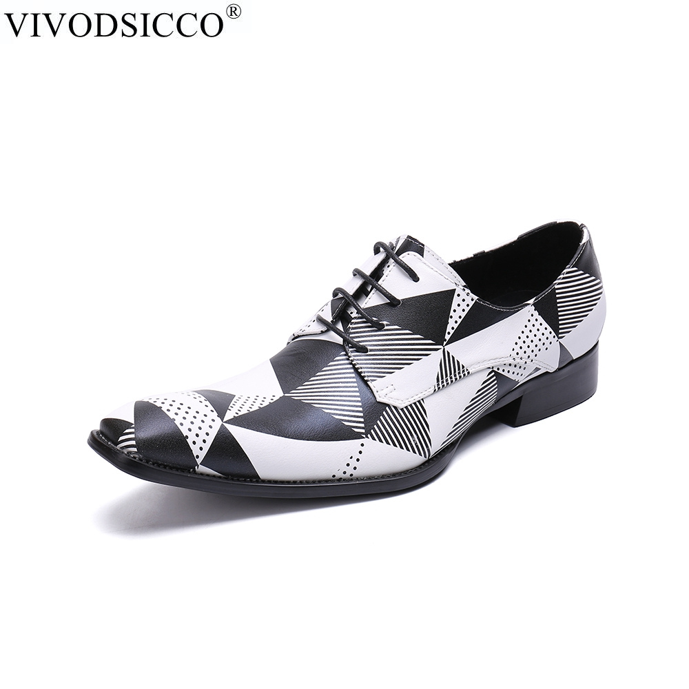 world-wide renown hot-selling fashion full range of specifications US $72.5 42% OFF|VIVODSICCO Fashion Luxury Black White Grids Pattern  Leather Loafers Shining Formal Dress Shoes Big Size Mens Wedding Party  Shoes-in ...