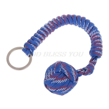 Outdoor Security Protection Black Monkey Fist Steel Ball Bearing Self Defense Lanyard Survival Key Chain
