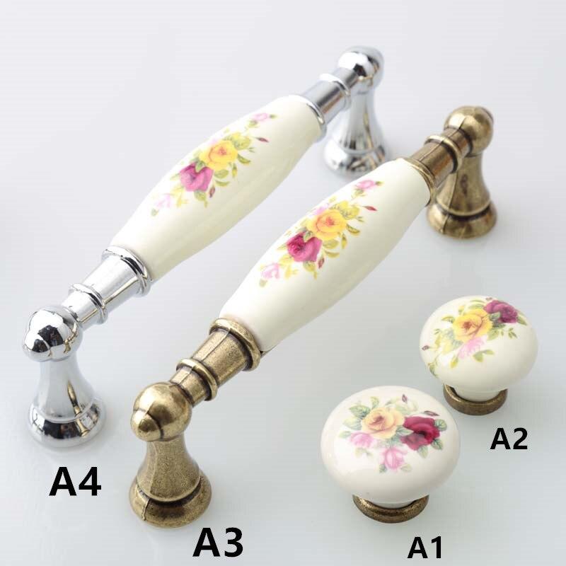 128mm modern fashion painting ceramic silver dresser kitchen cabinet door handle knob bronze drawer knob pull  5