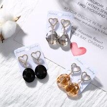 ФОТО temperament big crystal drop dangle earrings for women girls fashion love heart earrings jewelry mother's day gifts