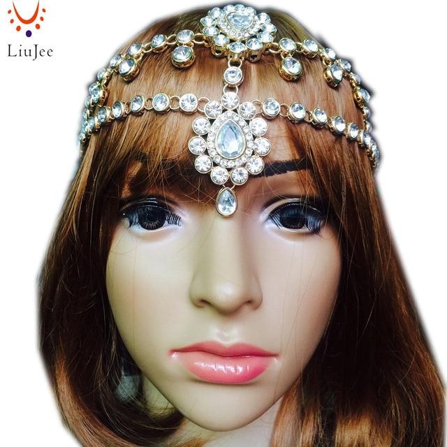 LiuJee KD092 NEW STYLE Kundan rhinestone head chain head jewellery