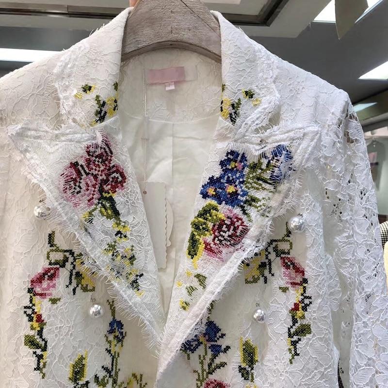 Haute Fleurs Vestes Femmes Blazers Bureau 2018 Affaires Blanc Style Formel Mode Dentelle Costume Belle Lady De Broderie Fv4EqnxC4R