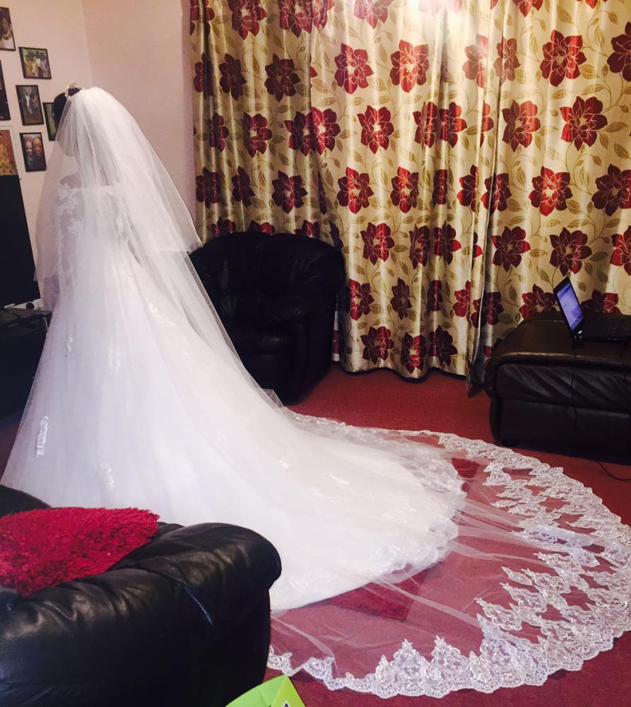 2017 Hot Real Bridal Mask Sloss 4 Meter 2T White & Ivory Sequins - Bröllopstillbehör - Foto 2