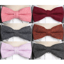 Men Bowtie Fashion Wool Solid Quality Bow Tie Necktie Adjustable Butterfly Double Deck Neckwear Luxurious Gift Shirt Ties