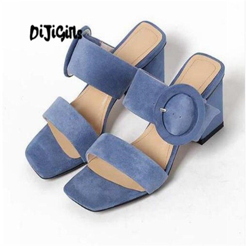 DIJIGIRLS 2018 sheep suede sandals women open toe outside slippers thick high heel circular buckle daily wear summer mules wwd women s wear daily 2012 11 26