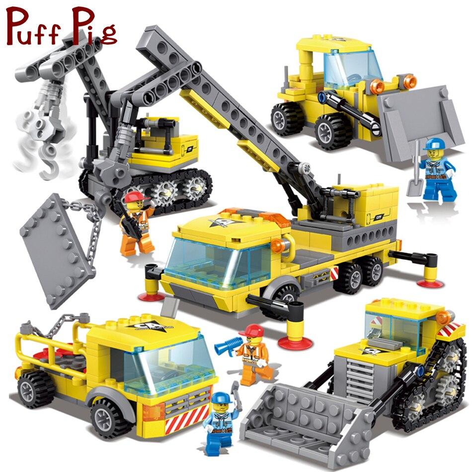 457 pcs 4in1 D'ingénierie Pelle Grue Camions Blocs de Construction Compatible Legoed Ville Chiffres Ensemble Jouets Éducatifs Pour Enfants