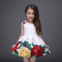 2016 Girls Ball Gown Floral Christening Evening Party Dresses Princess Sofia Dress Girl Wedding Clothes Kids