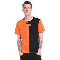 Hip Hop Fight Patch Color Tee Shirts Male Knitted Brand Clothing Short Sleeve Buttons Design Men