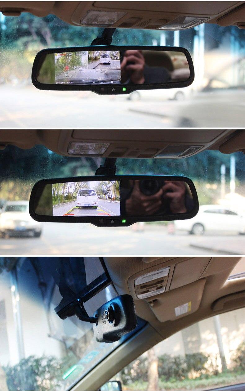 ANSHILONG Car Rear View Mirror DVR with 4.3 inch Monitor + Special OEM Bracket 720P Digital Video Recorder G-sensor