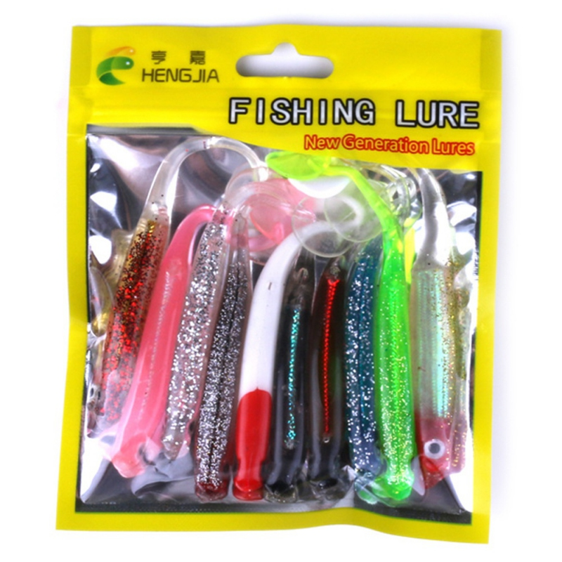 New 10pcs/pack Rock Lure Fishing Tackle pesca T-type Tail Soft Bait Suit Japan Shad Worm Swimbaits Jig Head Fly Fishing