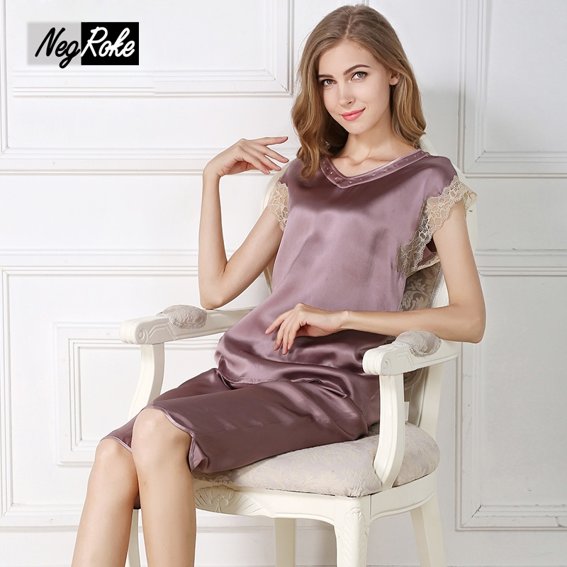 100% silk elegant fashion women pajamas sets sexy sleeveless V-neck solid color noble women silk sleepdress nightdress for women летние шины nokian 225 65 r16c 112 110t hakka c2