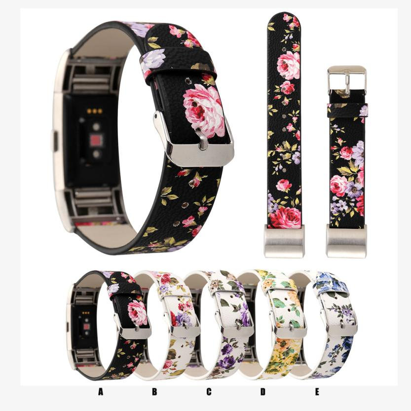 Floral Printed Leather Strap Replacement Watch Band For For Fitbit Charge 2 Correas de reloj