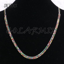 "5 strands rainbow zircon necklace rainbow stone jewelry necklace 11""-28"" adjustable gems jewelry gift for women 9234(China)"