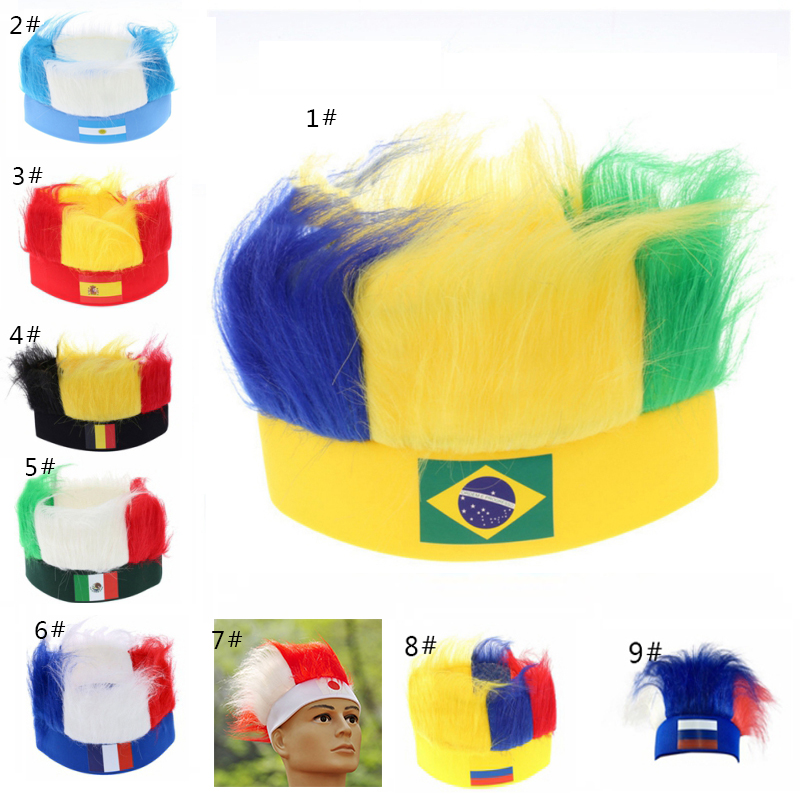 World Football GameFootball Fans Hats with National flag color Wig football headband National Flag Headwear Souvenir ...