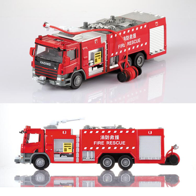 1 Pcs Alloy Engineering Fire Engine Vehicle Model 1:50 Water Fire Truck Ladder Support Original Die Cast Model Toy For Boys Gift 1 50 drill wagon alloy truck engineering vehicle toy car model dinky toys for children boys gift