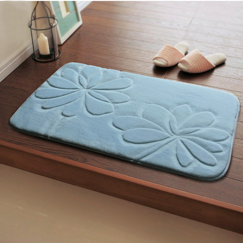 luxury 3d flower bathroom rugs 9 solid colors bathroom carpet 5080cm bath mat home - Bathroom Carpet