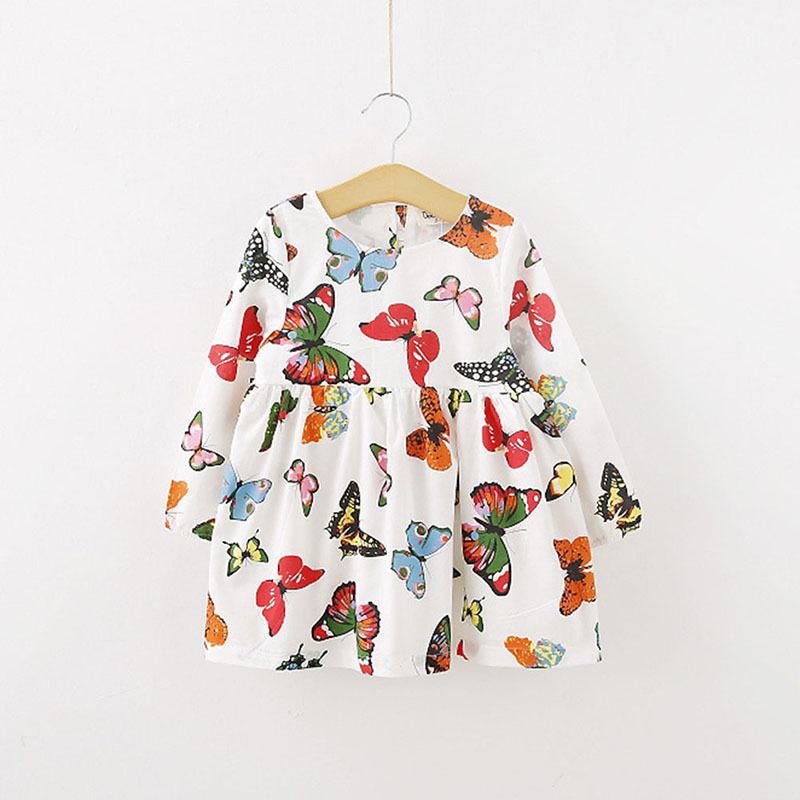 Stylish Baby Children Tunic Dress Toddler Girl Long Sleeve Butterfly Outfits butterfly print halter tunic dress