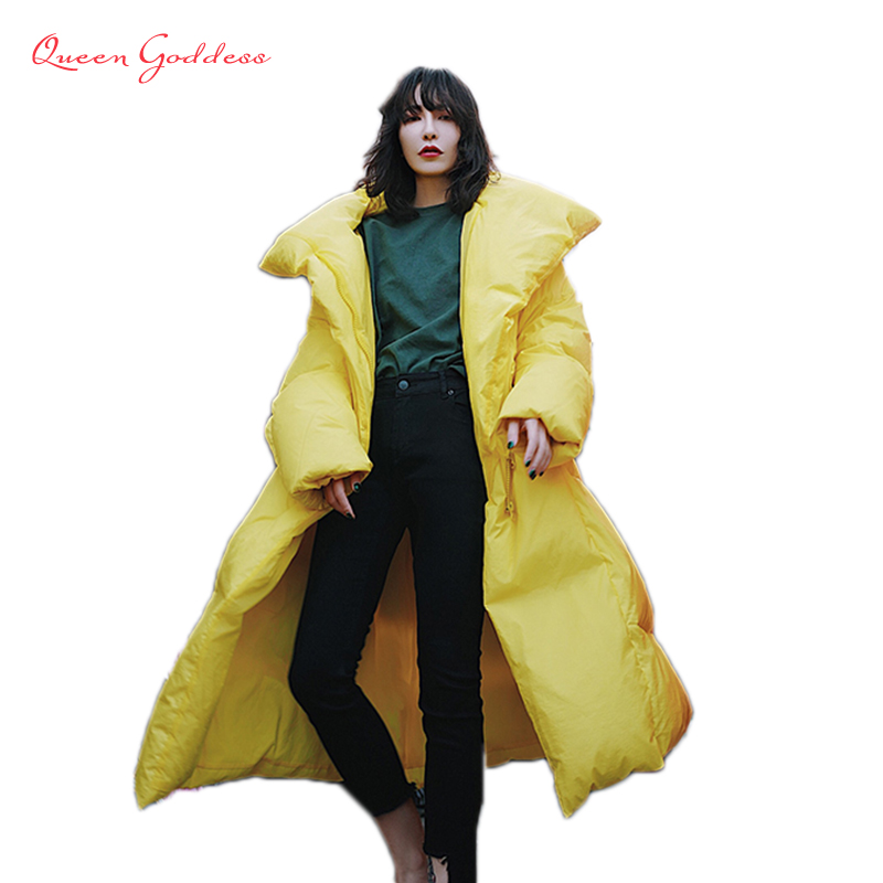Europe new popular high end quality yellow and black 90% white duck long down jacket loose type outwear office lady collection