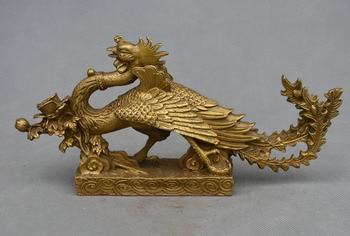 Chinese Royal copper Brass famous vermeil sparrow phoenix Bird Fly Beast statue