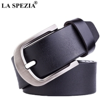 LA SPEZIA Black Belt Men Retro Real Leather Pin Buckle Male Brand Genuine Cowhide Solid Classic Accessories Belts