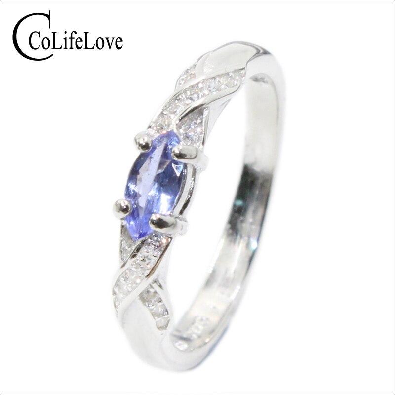 Fashion Tanzanite Silver Ring 3 Mm * 6 Mm Natural VS Tanzanite Ring For Girl Solid 925 Silver Tanzanite Engagement Ring For Lady