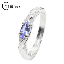 Fashion tanzanite silver ring 3 mm * 6 natural VS for girl solid 925 engagement lady