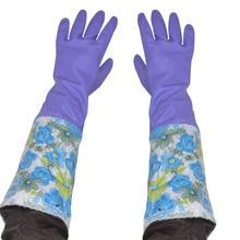 Бесплатная доставка 3 пар супер толстые расширить зимние тепловые перчатки 50 СМ длина ПВХ латексные бытовые с бархатной подкладкой перчатки