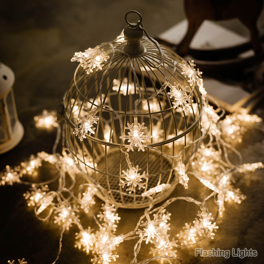 Fairy Lights Wedding Reception Ideas: 3M 24LED Snowflake Fairy String Lights Battery Operated