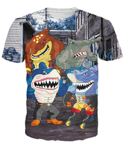 Street Sharks T-Shirt Crime Fighting Half Man Half Sharks 3d Cartoon 3D Printed T Shirt Funny Summer Tee Shirt Women Men R2824