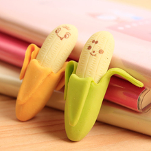 Creative Cute 2Pcs Banana Fruit Pencil Eraser Rubber Novelty Kids Student Learning Office Stationery
