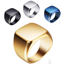 Cool Simple Square Men Ring Never Fade 316L Stainless Steel Men's Rings Size 7-13 Fashion Best Friends Male Jewelry Anel