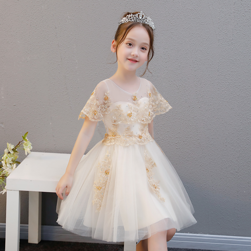 Children Kids Birthday Wedding Party Princess Lace Dress 2018 Summer New Girls Teens Model Show Piano Pageant Ball Gown Dress led star ca 410