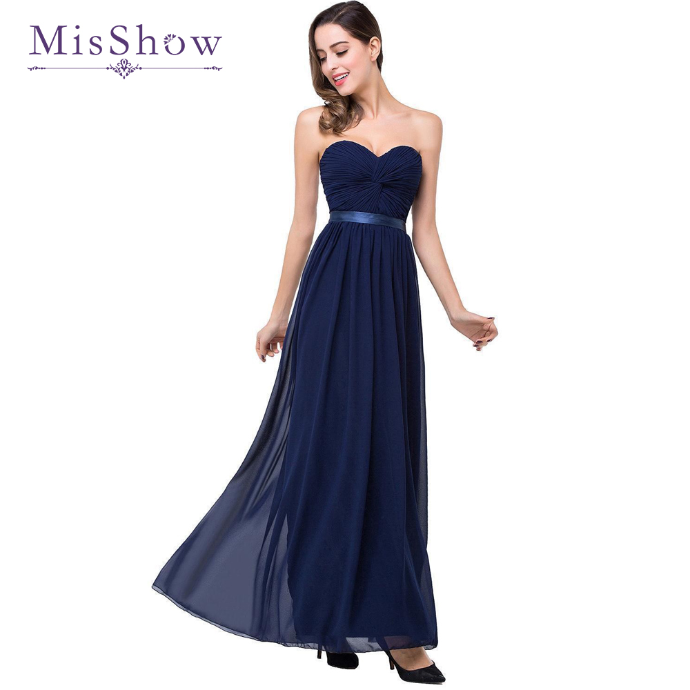 Cheap Formal Evening Dress MisShow 2019 Elegant Chiffon Burgundy Navy Blue Ruched Bust Long Maxi Women