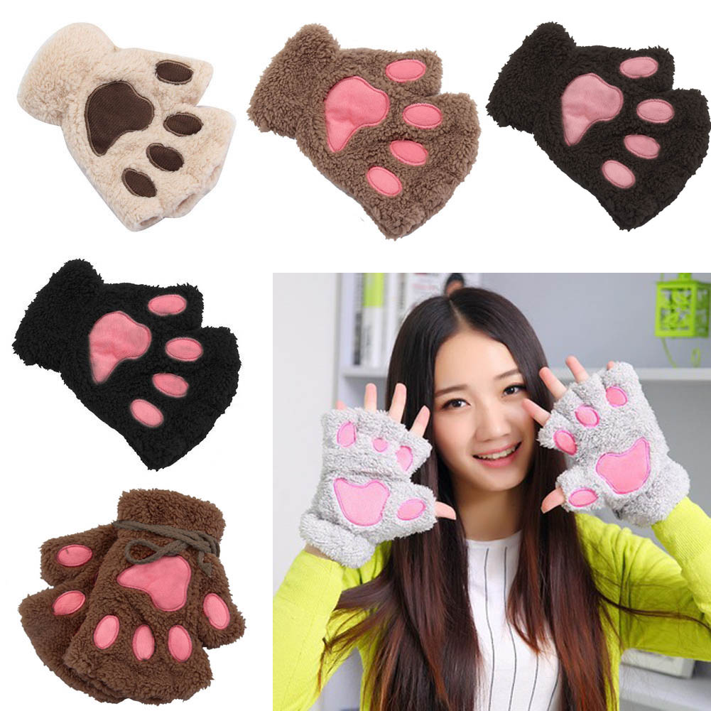 1 Pair Winter Women Ladies Girls Lovely Gloves Plush Warm Mittens Cute Cat Paw Short Fingerless Half Finger Glove -OPK