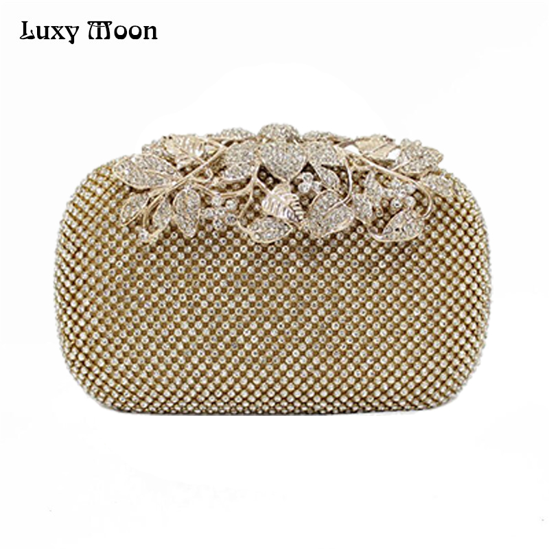 Luxy Moon Luxury Diamond Gold Evening Bags Peacock Silver Clutch Crystal beaded Evening Clutch rings wedding party purse w326 luxury crystal clutch handbag women evening bag wedding party purses banquet