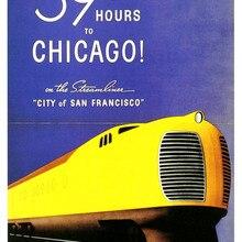 Cartel publicitario Vintage del sur del Pacífico a Chicago pinturas clásicas de lienzo Vintage carteles de pared pegatinas decoración del hogar regalo