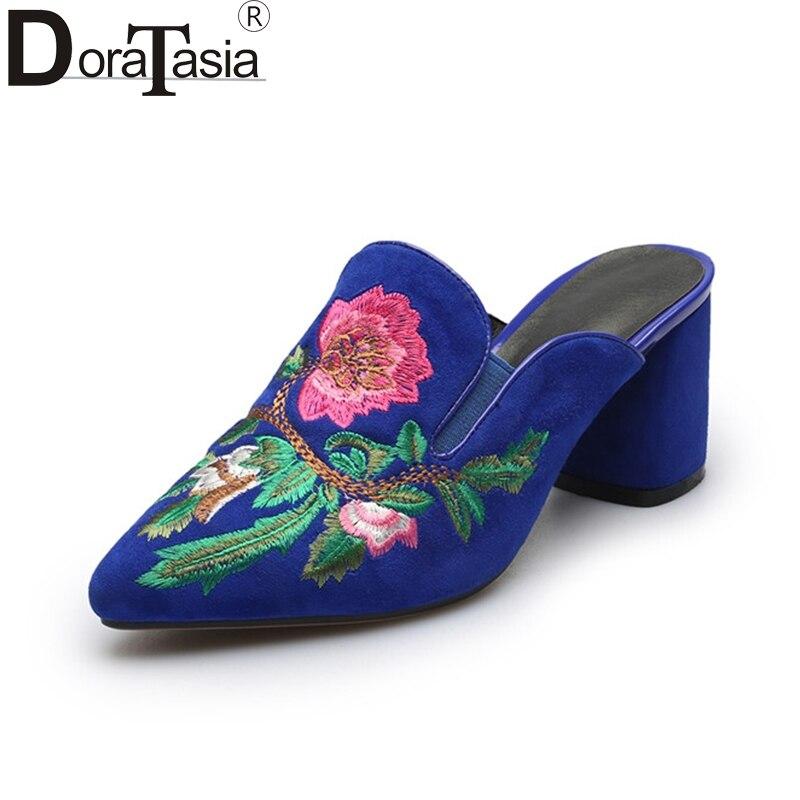 DoraTasia 2018 Summer Big Size 34-40 Natural Cow Suede Women Mules Fashion Embroider Pumps High Heels Women Casual Shoe