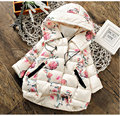 2016 Winter Coats Flower Pattern Baby Girls Jacket With Hooded Warm Thicken Children Outerwear Coats With Kids Clothes
