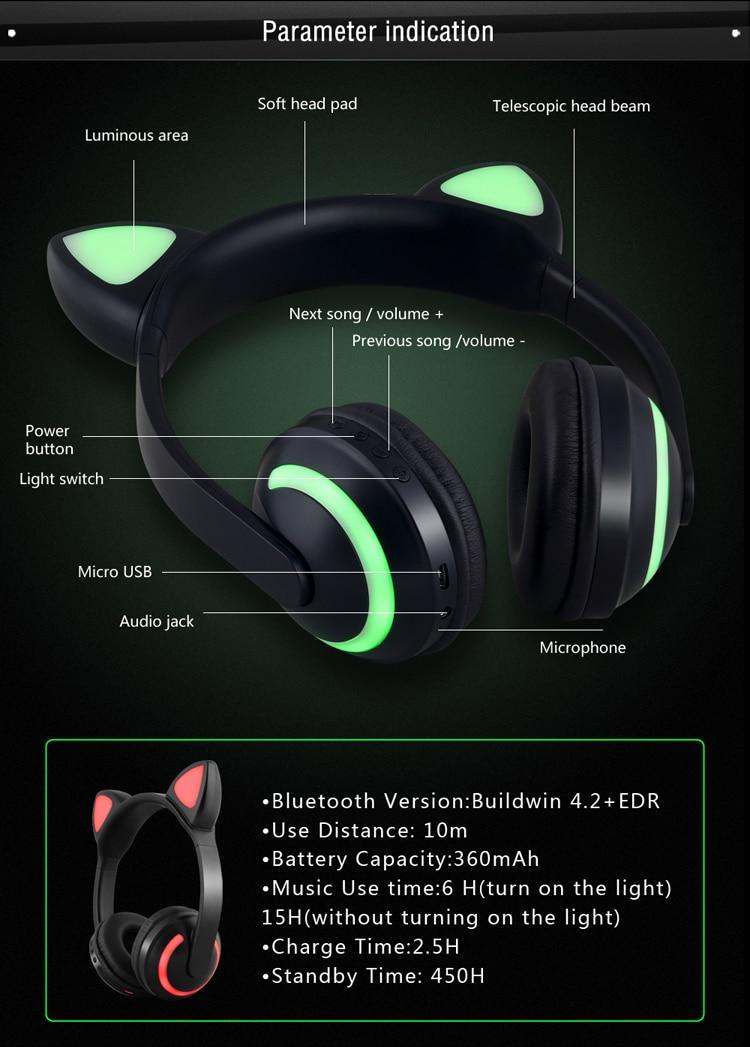 E2232 Flashing Cosplay LED light Cat Ear Headphone (11)