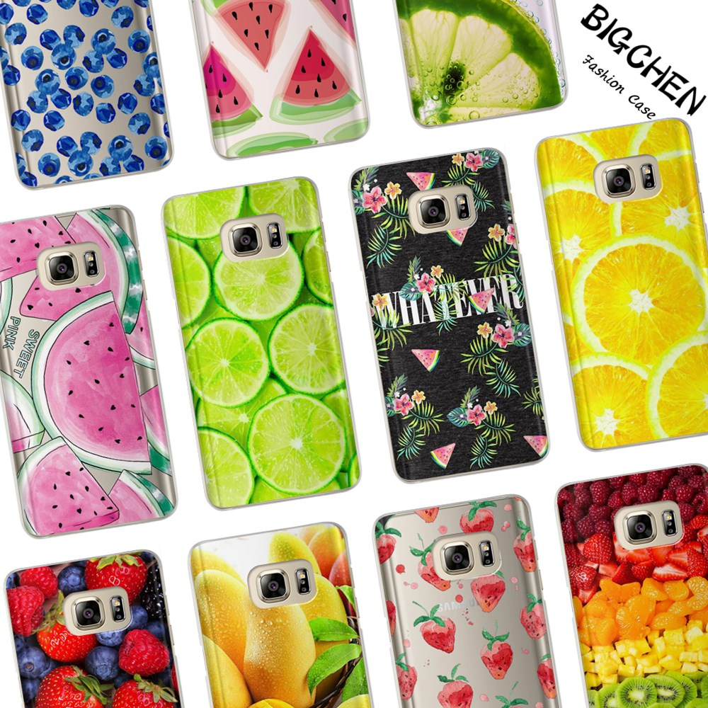 Galleria fotografica Summer Fruit Case For Coque Samsung Galaxy Grand Prime S3 S4 S5 S6 S7 Edge S8 Plus J2 J3 J5 J7 A3 A5 2017 2016 2015 Phone Cover