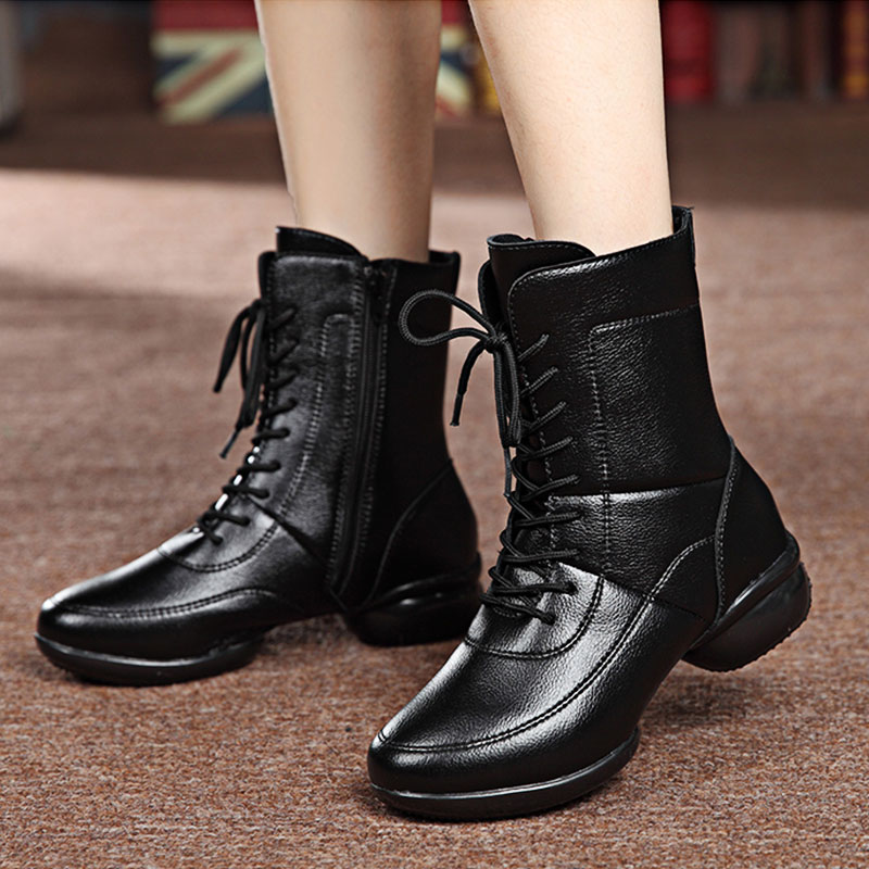 ФОТО 2017 Women Latin Dance Shoes Black Jazz Boots Sports Modern Dance Shoes Red Sneakers High Shoes Ballroom Shoes Girls Ankle Boots