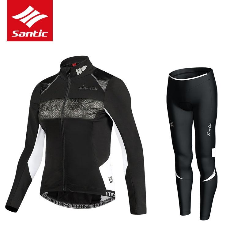 Santic Anti Uv Winter Womens Radfahren Kleidung 100% Polyester Thermische Fleece Fahrrad Radfahren Tragen Fahrrad Kleidung Radfahren Jersey Set