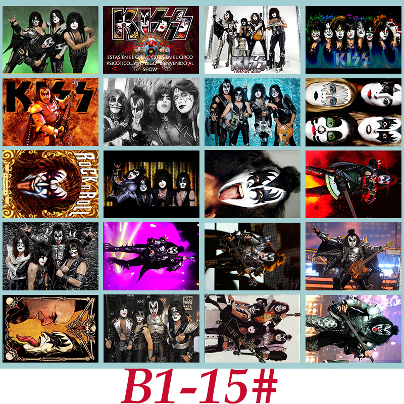 B1-15# KISS Classic Series sticker 20/pcs PVC Laptop Sticker collection Gift Home Decor Fridge Styling Mixed Stickers
