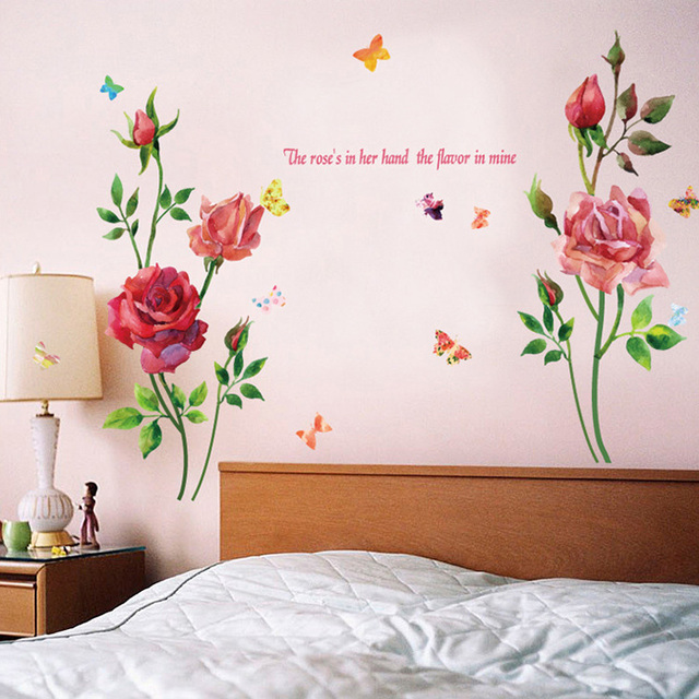 new watercolor rose large wall stickers flowers home decor living